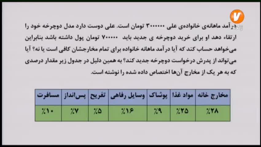 ریاضی پنجم ابتدایی / 10 خرداد
